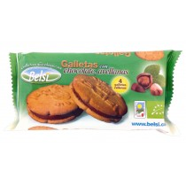 Galletas rellenas con chocolate y avellanas